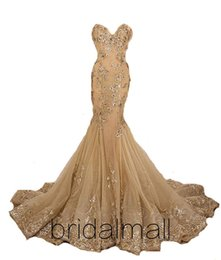 Bead sweetheart mermaid wedding dress tulle online shopping - Champagne Appliques Tulle Mermaid Lace Wedding Dresses Sweetheart Beaded Lace Boho Beach Wedding Gowns Lace Up Back Sexy Bridal Dresses