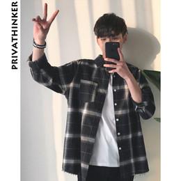 $enCountryForm.capitalKeyWord Australia - Privathinker Plaid Shirts Oversized Long Sleeve Shirt Men Women Casual Plaid Flannel Burr Shirts Harajuku Male Strip Shirts SH190709