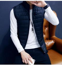 Slim Fit Sleeveless Jacket Australia - 2019 Autumn Men's Down Vest Jacket Coat Solid Color Sleeveless Waistcoat Male Thin Vest Slim Fit Zipper Coats M-3XL
