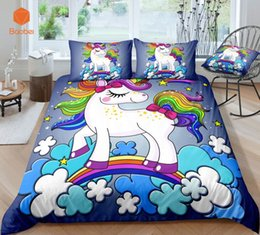 Colorful Modern Bedding NZ - 3D Cute rainbow Unicorn Bedding Set Pillowcas Cartoon Bed Duvet Cover for Kids Adults 3pcs Colorful Bedclothes Quilt CoverSj231