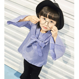 Striped Clothing Australia - Girls spring autumn clothing set kids striped shirt and black loose pant 2pcs baby casual bow princess clothes children 2-7 Year