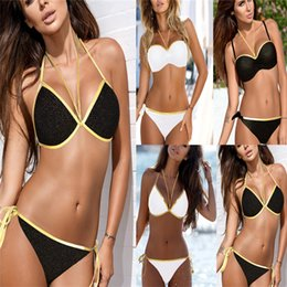 52df3778e3b Push Up Micro Bikini Set Solid Swimsuit Female Side Tie Up Thong Bottom Plus  Size Swimwear Women 2019 Sexy Mesh Bathing Suit XL