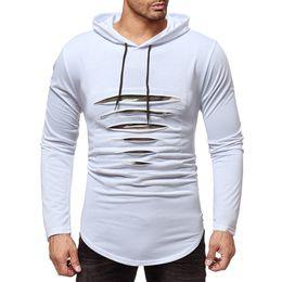 5bede2c6b 2019 Male Tops Men Broken Zipper Tshirts Cool Pure Color Hoodies T-shirts  Hombre Bodybuilding Fitness Hoody T-shirts