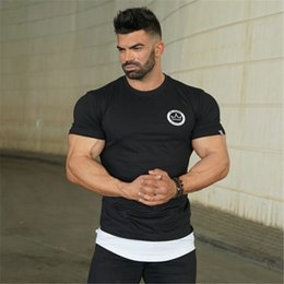Long Tail Shirts Australia - Mens Fashion Sports Long Tail Printing Short Sleeve Bodybuilding Elasticity Fitness Gym T Shirt(4 Colour)