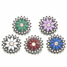 Noosa sNap jewelry online shopping - Noosa mm Snap Button Colorful Crystal Oval Pearl Chunks DIY Ginger Snap Button Crystal Charms Bracelet Necklace Jewelry
