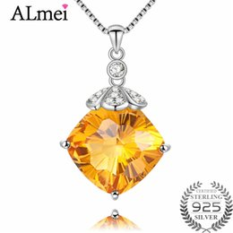 Citrine Crystals Australia - Almei 8ct Square Citrine New Women Crystal Rhinestone Collar Necklace Silver 925 Wedding Birthday Jewelry Free Box 40% FN078