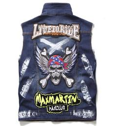 $enCountryForm.capitalKeyWord Australia - Mens Fashion Skull Wings Hip hop Vest Motorcycle Club Denim Biker Vests Embroidery Patch Painted Design Multi Badges Sleeveless Jackets #911