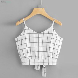 Wholesale womens tie shirt online – Top Plaid Vest Womens Self Tie Back V Neck Cami Camisole Summer Casual Female T Shirt White Tank Tops