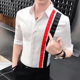 a5c5d036eec8 Streetwear Slim Fit Splice Contrast Color Half Sleeve Shirt Men Casual  Shirts Men Blouses Korean Clothes Summer Shirt