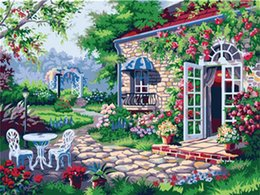 Garden Oil Paint NZ - 16x20 inches a Villa in The Beautiful Flowers Garden DIY Paint By Numbers Kits On Canvas Art Acrylic Oil Painting