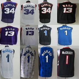 42513bb0791e Hombres Vince 15 Carter Steve 13 Nash Jersey Charles 34 Barkley Tracy 1  McGrady Anfernee 1 Hardaway Retro Basketball Jerseys