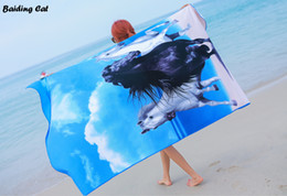 Lighted horse online shopping - Blue Horse Microfiber Soft Absorbent Beach Towel Big Size x180cm Swimming Plage Quick Dry Bath Towels Thick Bikini Shawl G