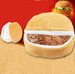 free beds NZ - Wholesales Free shipping 2019 Dog Cat Bed Hamburger Shaped Windproof Pet House Puppy Teddy Round Detachable