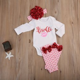 valentines bows UK - 2020 New Arrival 4Pcs Newborn Baby Girl Kissable Valentine Top Romper Pants Outfits Clothes Set