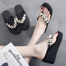 $enCountryForm.capitalKeyWord NZ - Litthing Womens Shoes Slippers Flip Flops Summer Pearl Crystal Bling Beach Slides Sandals Casual Slip On Slipper Shoes Woman