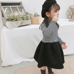 2019 Autumn And Winter New Arrival korean style cotton casual Striped  all-match long sleeve Dress for cute sweet baby girls 6ba418753