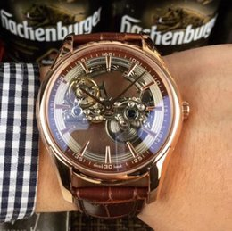 Skeleton watcheS leather Strap online shopping - 2019 skeleton rose gold automatic mens watch leather strap sapphire glass glide smooth second hand sport watches