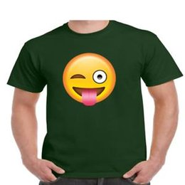 T shirTs emoji faces online shopping - Winking Face With Tongue StuHip hop Out Emoji Funny T Shirt Mens