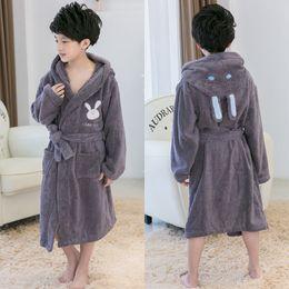 Pajamas Towel Australia - Unisex Cotton Bathrobe Kids Baby Warm Children's Bathrobe Thick Children's Baby Hooded Kimono Towel Fleece Pajamas Night Gown