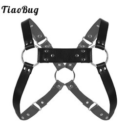 $enCountryForm.capitalKeyWord Australia - TiaoBug Men Black Faux Leather Adjustable Body Chest Muscle Harness Costume Belt with Metal Rings Hot Sexy Male Gay BDSM Bondage