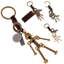 Wholesale robot couple for sale – custom 4 Styles Adjustable Accessories Vintage Car Key Chain Men women Couple Keyring Alloy Robot Backpack Pendant Punk Keychains gift
