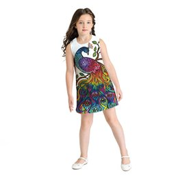 $enCountryForm.capitalKeyWord UK - 2019 Baby Girl Summer Clothes Sleeveless 3D Peacock Print Princess Dress Girls Costumes Casual Little Girls Dresses La Robe Kids