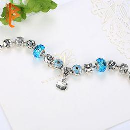 bef6a3dc6 BELAWANG Lovely Cute Kitty Charm Bracelets Bangles With Blue Murano Glass  Beads Bracelet for Women Children Girl DIY 925 Silver Jewelry Gift