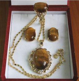 Fine Jewelry Jade Set Australia - Wholesale fine tiger eye inlay, jade pendant earring necklace and ring jewelry set