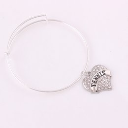 $enCountryForm.capitalKeyWord Australia - TX004 Wholesale heart shaped SOLD pendant bangle Charm Bracelet best selling TENNIS TEACHER charm bracelet for teacher