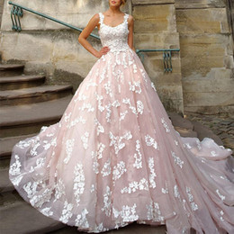 light coral wedding dresses Canada - Luxury Princess Wedding Dresses Light Pink Ball Gown Bridal Gowns Appliques Lace Scoop Neck Summer Wedding Dress