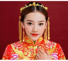 Coronet Hair Australia - Classical Headwear Chinese Style Wedding Hair Accessories Phoenix Coronet Gold Color Hairpins Earrings Bridal Crown JCE067