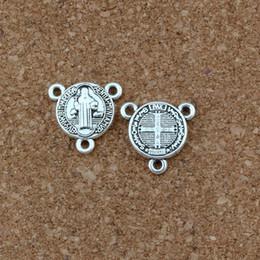 $enCountryForm.capitalKeyWord NZ - 150pcs Lots Antique Silver Saint Benedict Medal Cross Triangular 3-Strand Charm Spacer End Connector 16x16mm DIY Accessories F-58