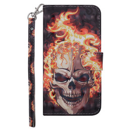 Chinese  The flame skull laser 3D flip cover is suitable for apple, huawei, xiaomi and samsung 2-in-1 mobile phone case manufacturers