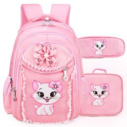 backpacks princesses 2019 - Portfolio School Bags For Girls Sweet Cute Cartoon Princess Cat Children Backpack Kids Lace Bookbag Primary School Backp