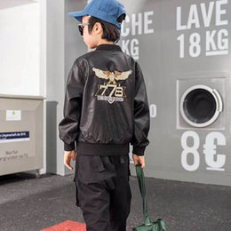 Boys pu leather jackets online shopping - New style Fashion Boys Coats Pu leather Kids Coats Boy Jacket Kids Jackets kids designer clothes boys designer clothes retail A8485