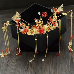 $enCountryForm.capitalKeyWord Australia - One Set Chinese Hair Jewelry Set Wedding Bridal Ancient Step Shakes Handmade Beads Headdress Hair Combs Sticks Costume Headwear JCE063