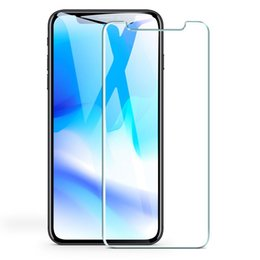 Iphone Glass Screen Guard UK - Tempered Glass For iPhone XS MAX XR X 8 7 Plus Galaxy S10 Plus S9 9H Premium Screen Protector Protective Film Guard Front Clear Glass 50pcs