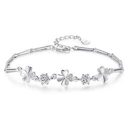 Fish Crystal Australia - Fashion Silver Chain white Crystal Diamonds Bracelet Bangle Adjustable Simple Flowers Bracelets Woman Wedding Party Jewelry