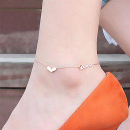 14k gold anklets Australia - Plated 18K rose gold women love anklet Personality titanium steel does not fade accessories Exquisite girlfriends feet jewelry wholesale