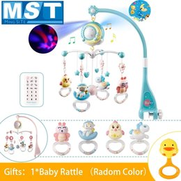 Baby Rattle Box Australia - Baby Hanging Rattles Mobiles Toy Holder Rotating Crib Bed Bell With Music Box Projection For 0-12 Months Newborn Infant Q190531