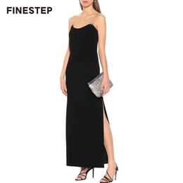 Female Dresses NZ - Elegant O-neck Solid Slim Women Sleeveless Dress with Diamonds Black Ankle-length Dress 2019 Summer Casual Maxi Female