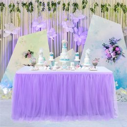 polyester table skirting Australia - Lace Tulle Table Skirt New Lace Wedding Birthday Parties Tableware Soild Color Fashionable Cloth Cover Home Decoration Hot Sale