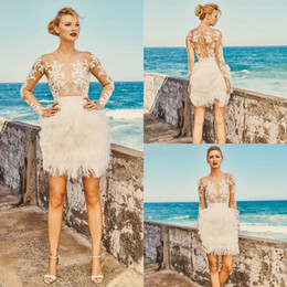 wedding dresses feathers skirts 2020 - Elbeth Gillis Short Beach Wedding Dresses with Long Sleeve 2019 O-neck Luxury Lace Applique Feather Summer Holiday Brida