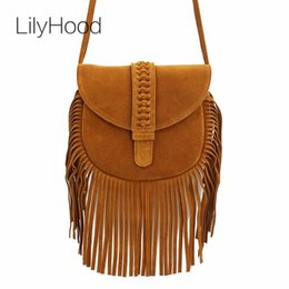 LilyHood Women Genuine Leather Fringed Crossbody Bag Boho Hippie Gypsy Folk Ibiza  Music Bohemian Fringe Feminine Shoulder Bag  292281 fd0f2d824ec1e