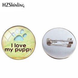 $enCountryForm.capitalKeyWord Australia - 2019 Vintage Love Paw Prints Brooches Glass Cabochon Dog Lovers Jewelry Hand Craft Brooch Pin Gifts for Children and Friends