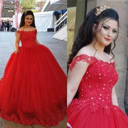 Wholesale Sweet Red Quinceanera Dresses Ball Gowns Off Shoulder Lace Appliques Puffy Corset Back Princess Prom Dresses Plus Size Customized