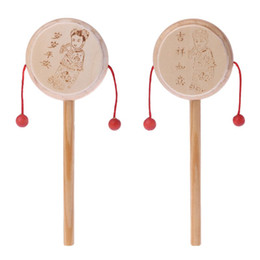 traditional baby rattles NZ - Natural Wood Cartoon Chinese Traditional Spinning Rattle Drum Hand Bell Baby Musical Toy Kids Early Educational Toy