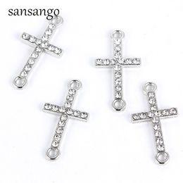 $enCountryForm.capitalKeyWord Australia - 10 Pcs White K Alloy Crystal Religion Cross Connectors Beads Bracelet Charm For DIY Pendant Necklace Jewelry Findings