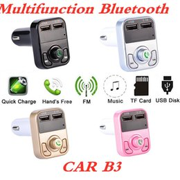 kit car box Australia - Multifunction Bluetooth CAR B3 with 2.1A Dual USB Car charger Support FM MP3 Player Car Kit TF Card Hands-free + retail box