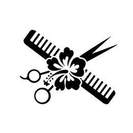 white hair glue 2019 - 15*11.5cm Fashion Personality Vinyl Car Wrap Hair Stylist Decal Scissors And Hibiscus Pretty Flower Car Stickers discoun
